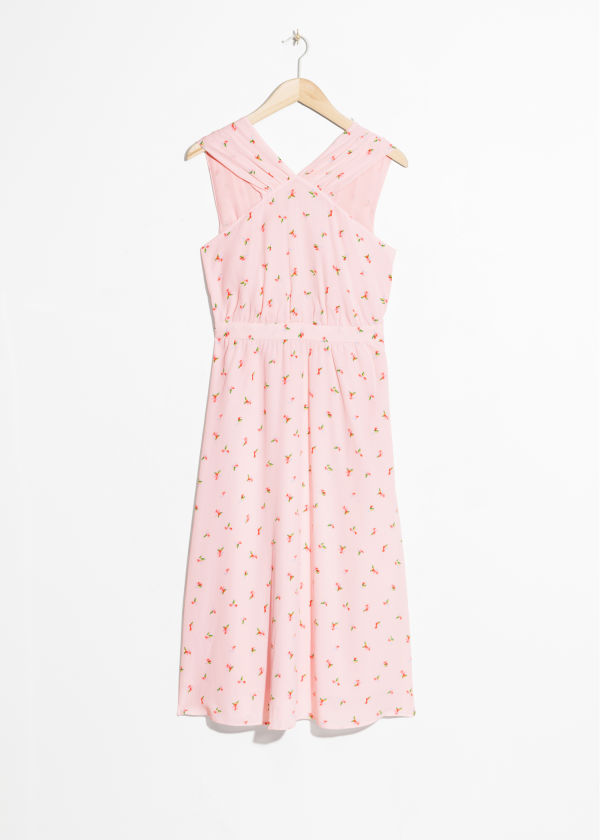 Front image of Stories cross front dress in pink