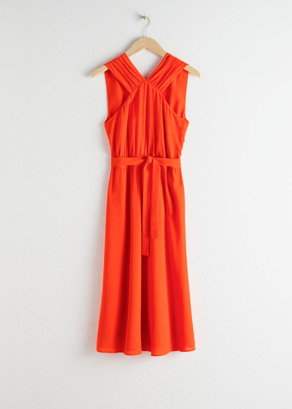 Front image of Stories cross front dress in orange