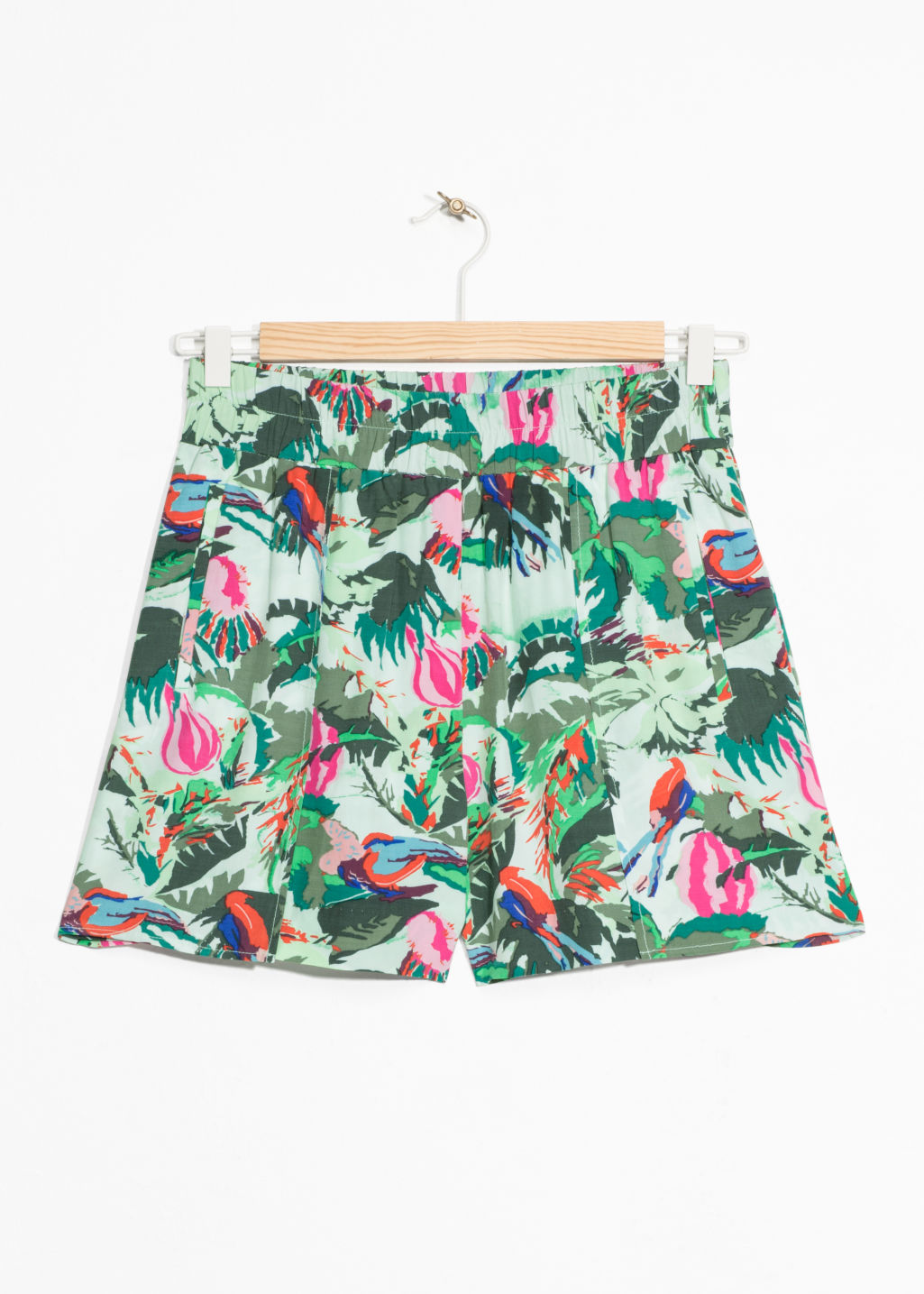 Front image of Stories tie-waist shorts in green