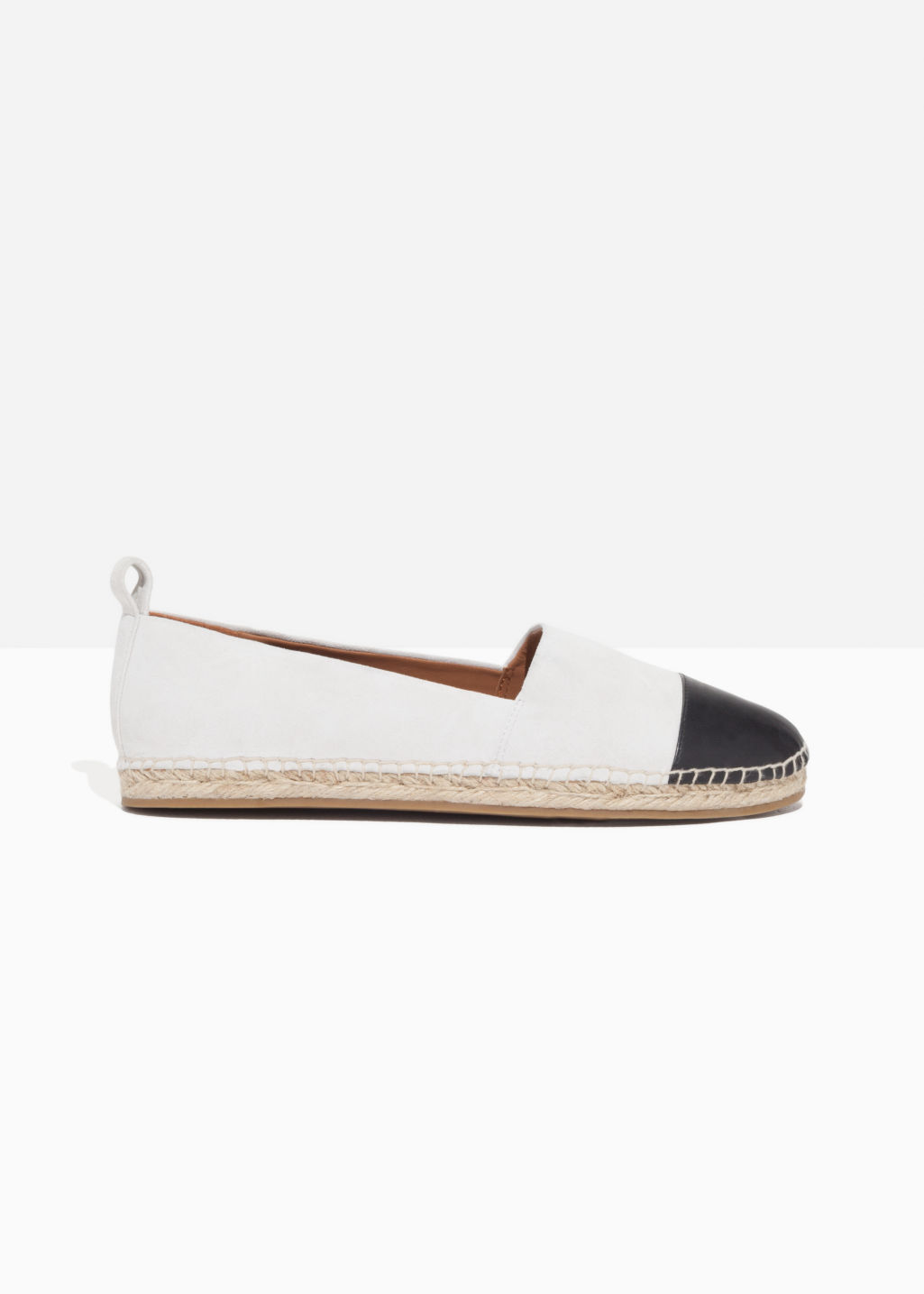 Front image of Stories leather and suede espadrilles in white