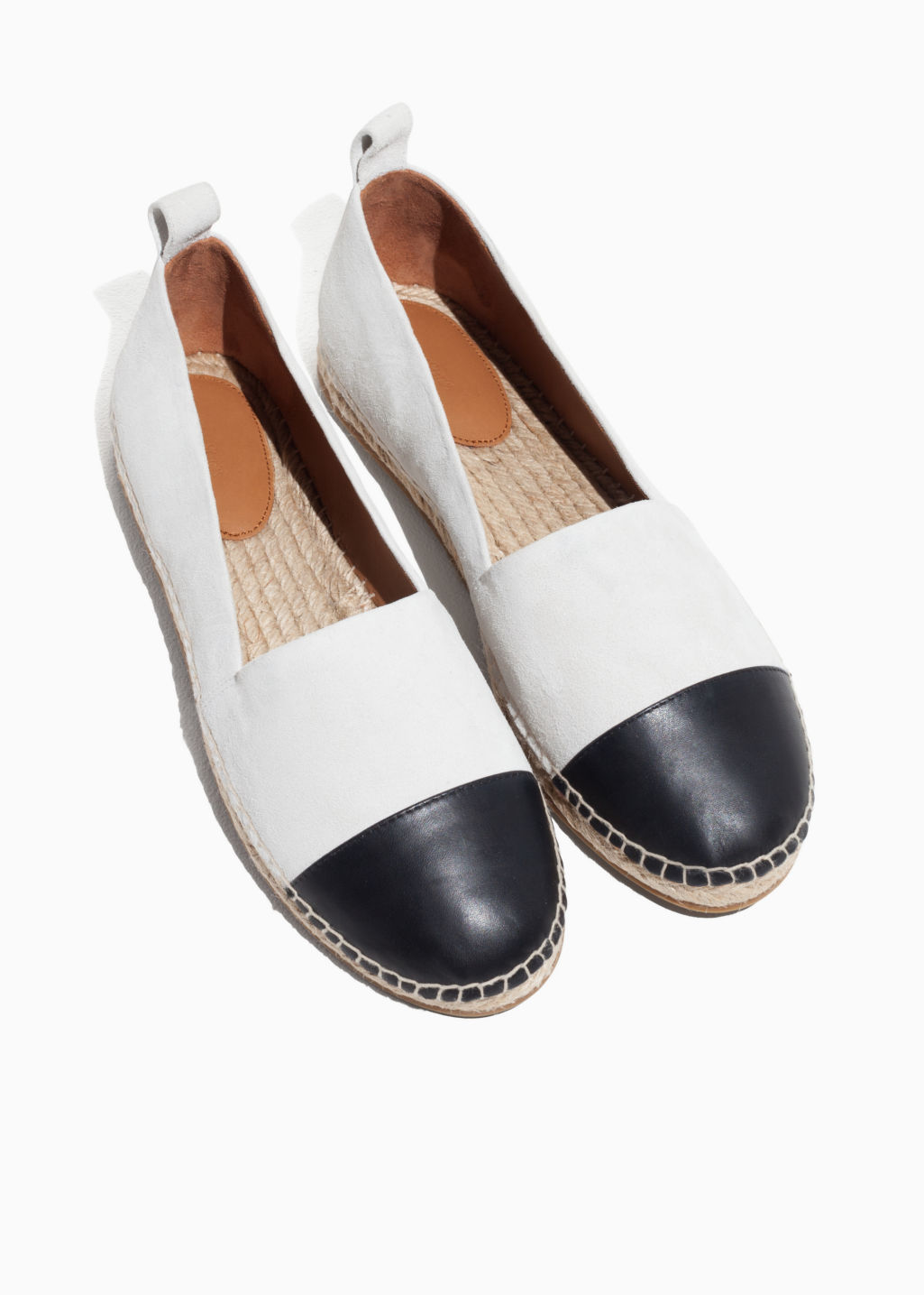 Back image of Stories leather toe espadrilles in white