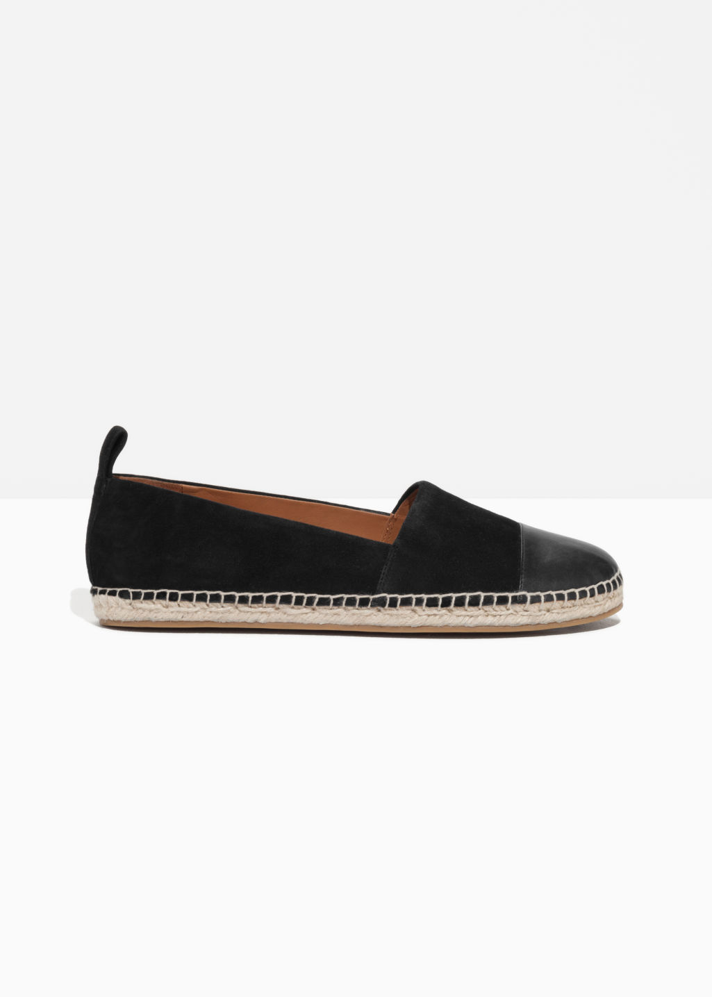 Front image of Stories leather and suede espadrilles in black