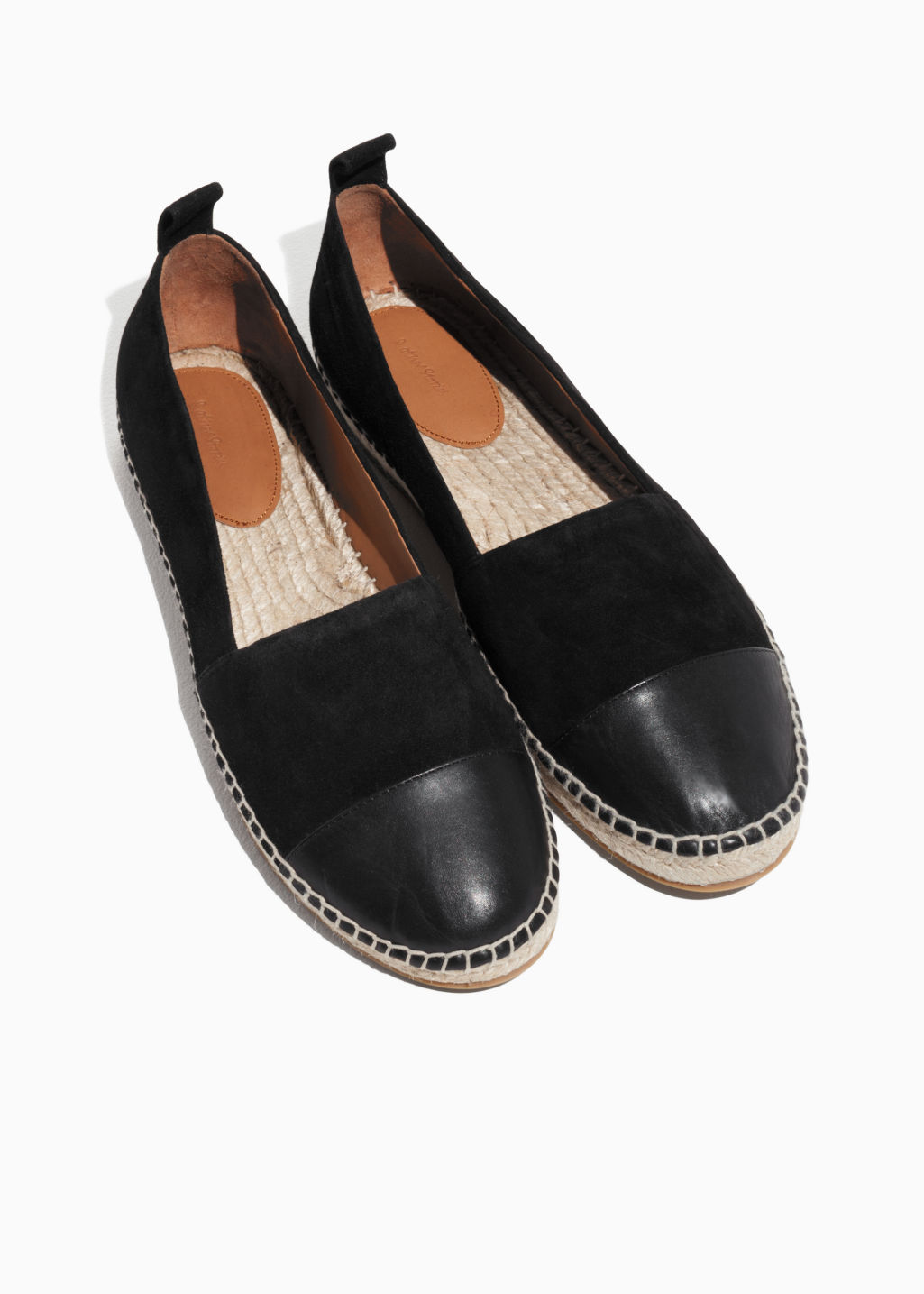 Back image of Stories leather toe espadrilles in black