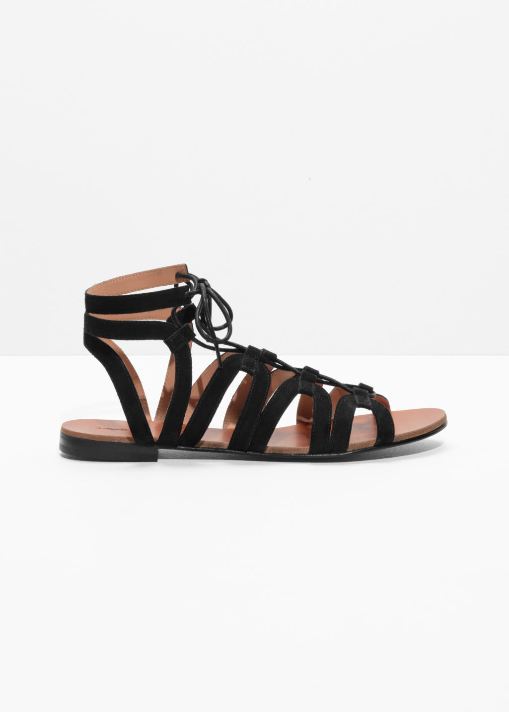 Front image of Stories lacing sandals in black