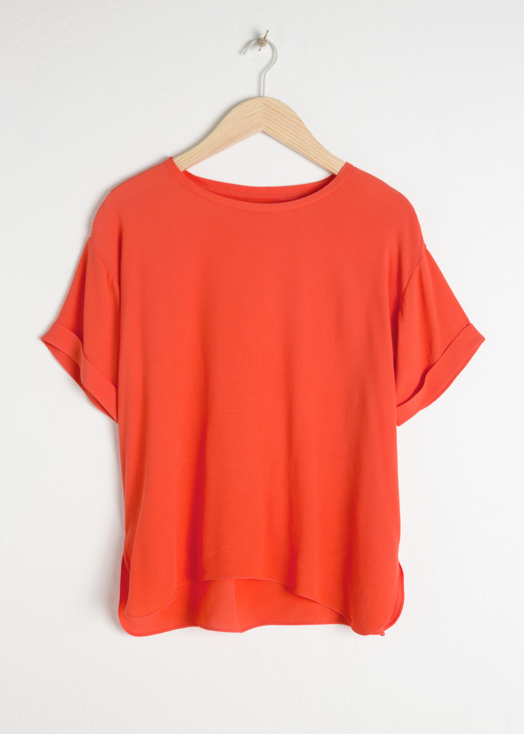 Front image of Stories boxy fit top in orange