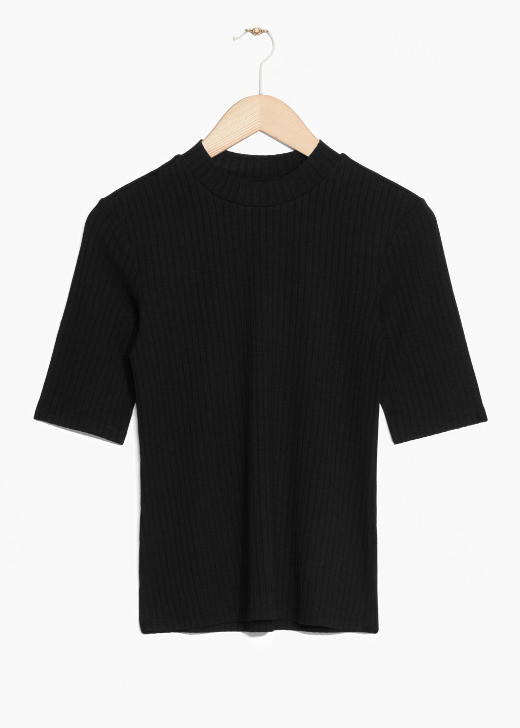 Front image of Stories ribbed top in black