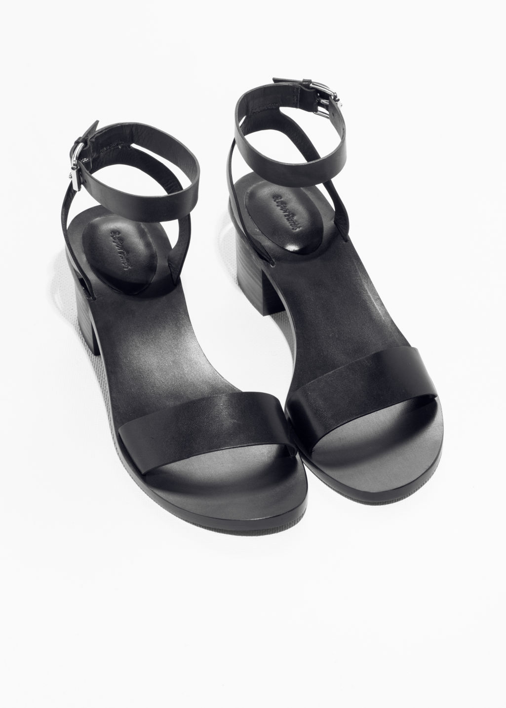 Back image of Stories ankle-strap heeled sandal in black