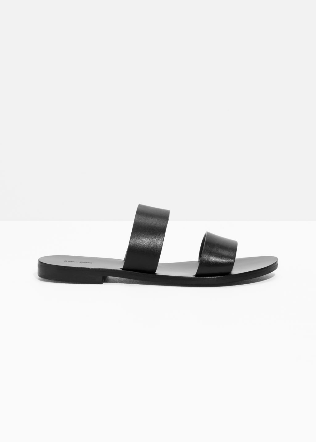Two Strap Leather Slip-On Sandals
