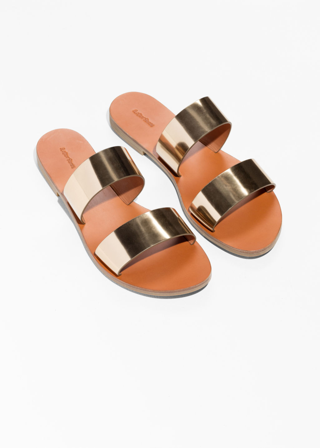 Back image of Stories two strap leather slip-on sandals in gold