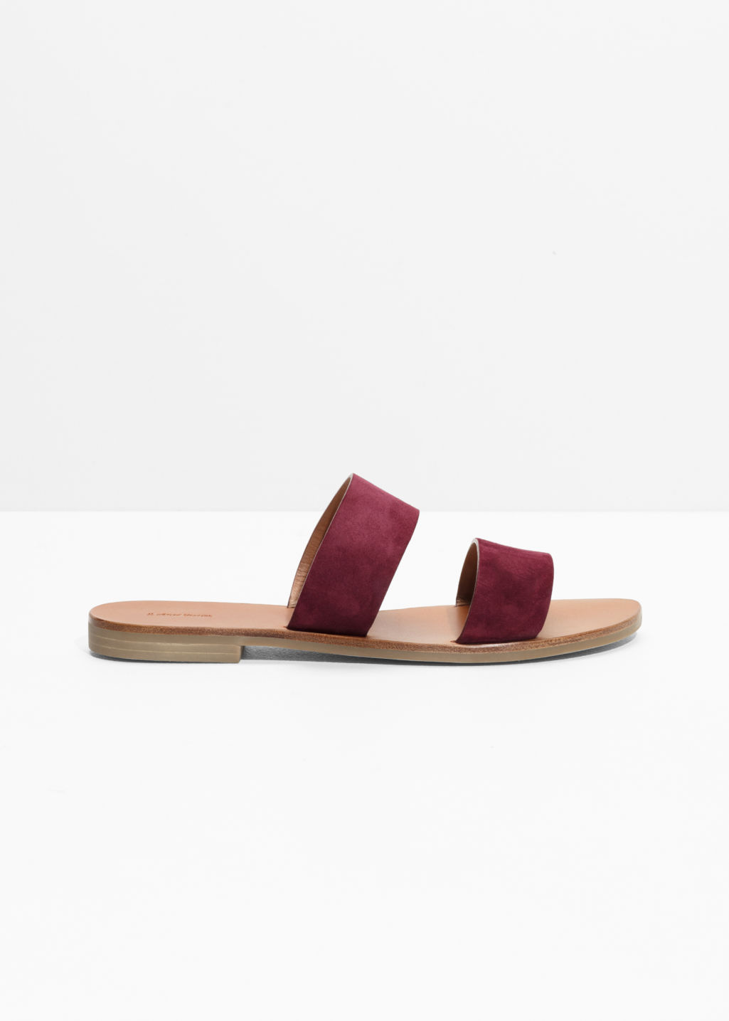 Front image of Stories two strap leather slip-on sandals in red