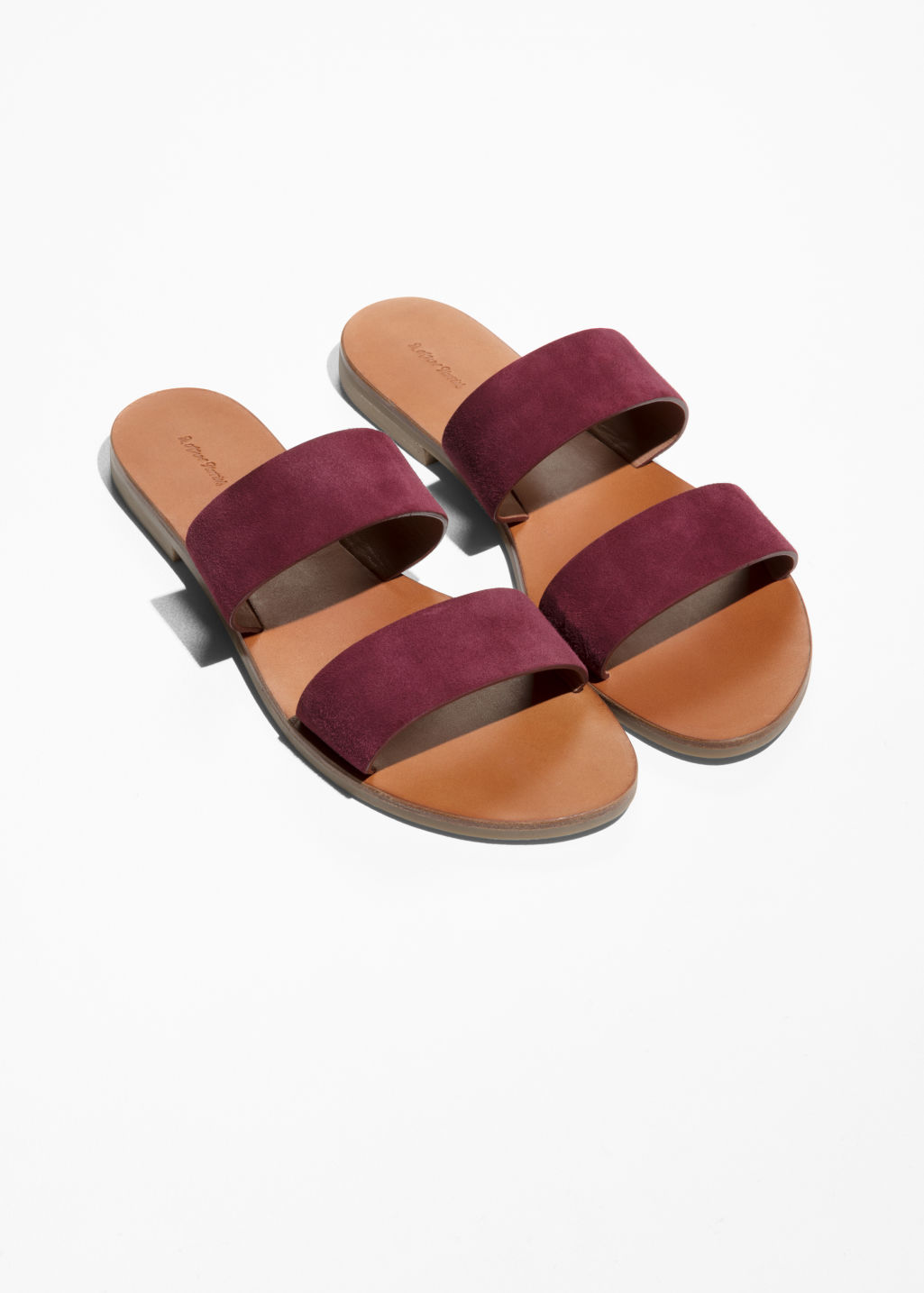 Back image of Stories two strap leather slip-on sandals in red