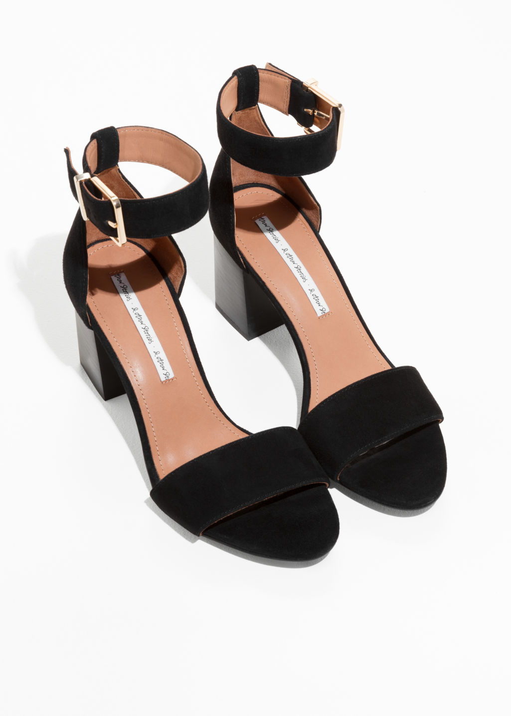 Back image of Stories almond toe suede sandals in black