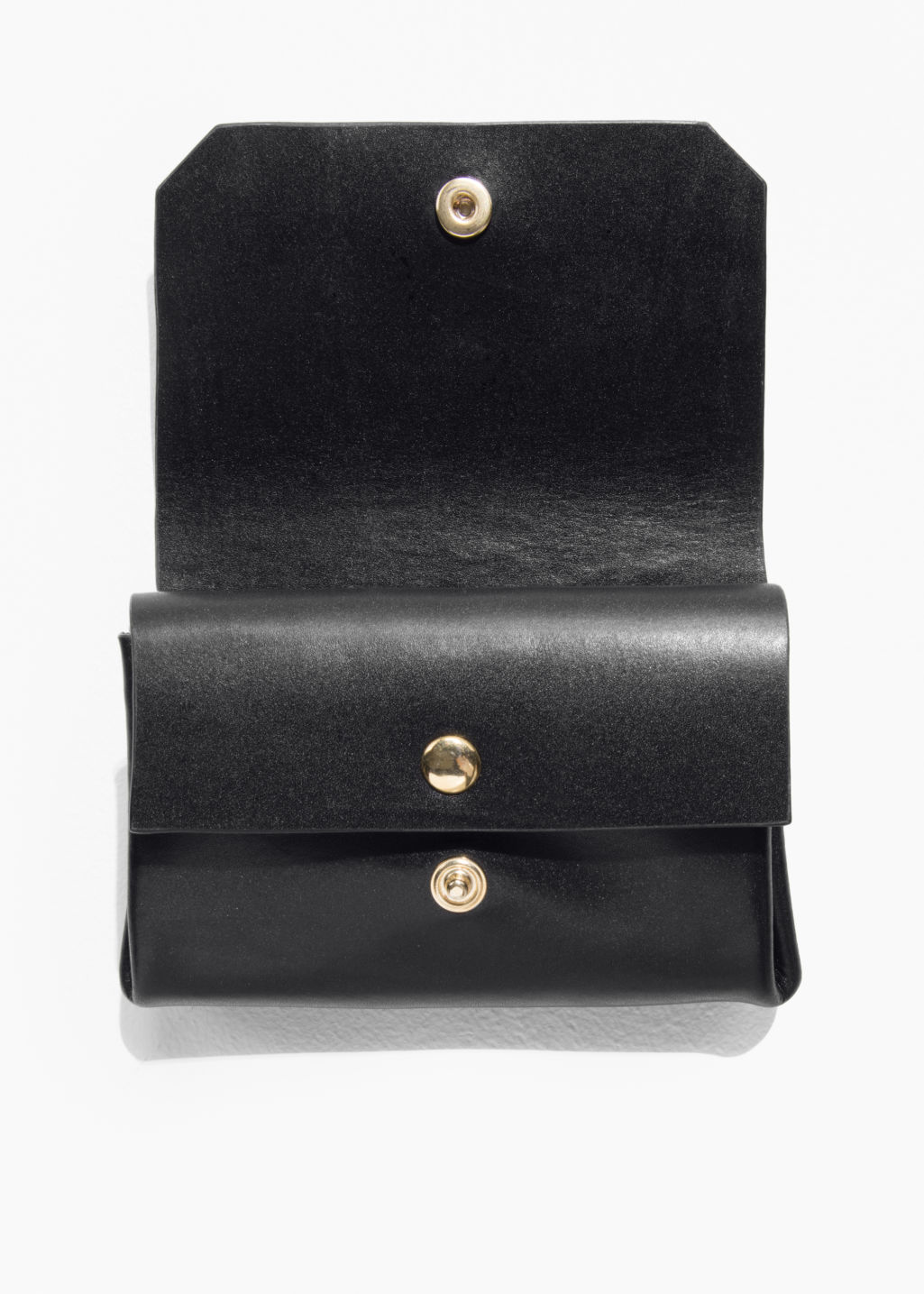 Back image of Stories leather mini wallet in black
