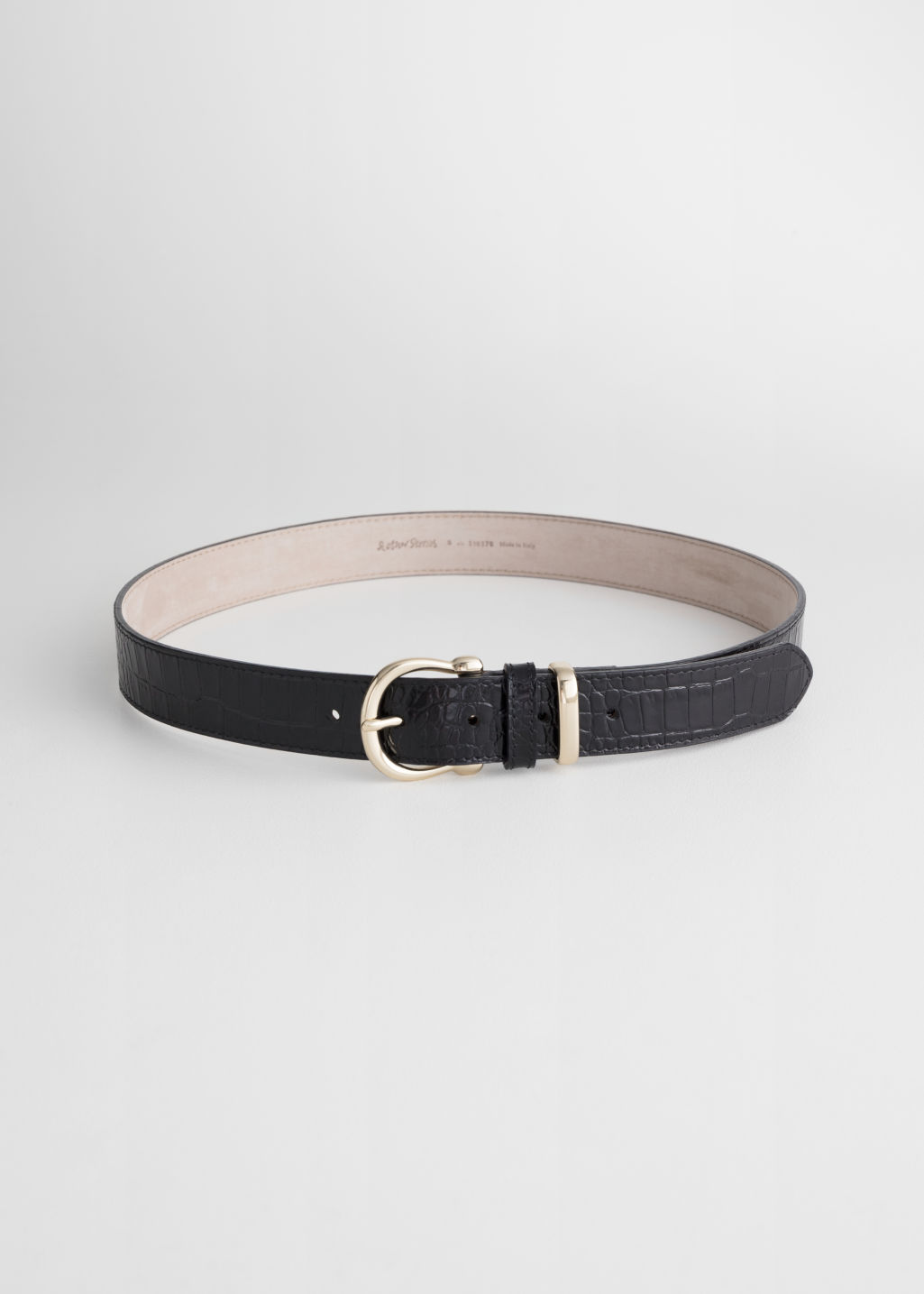 Front image of Stories croco leather belt in black
