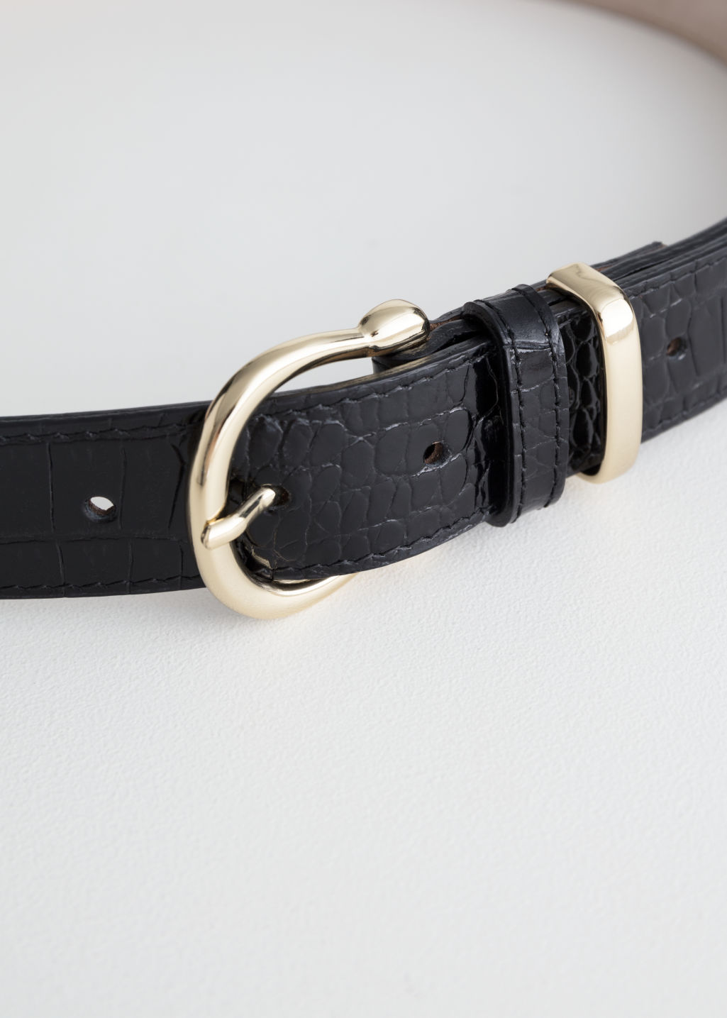 Back image of Stories croco leather belt in black