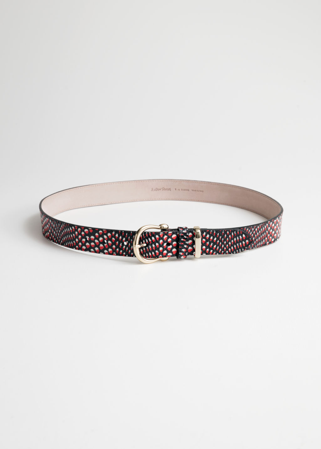 Front image of Stories croco leather belt in red