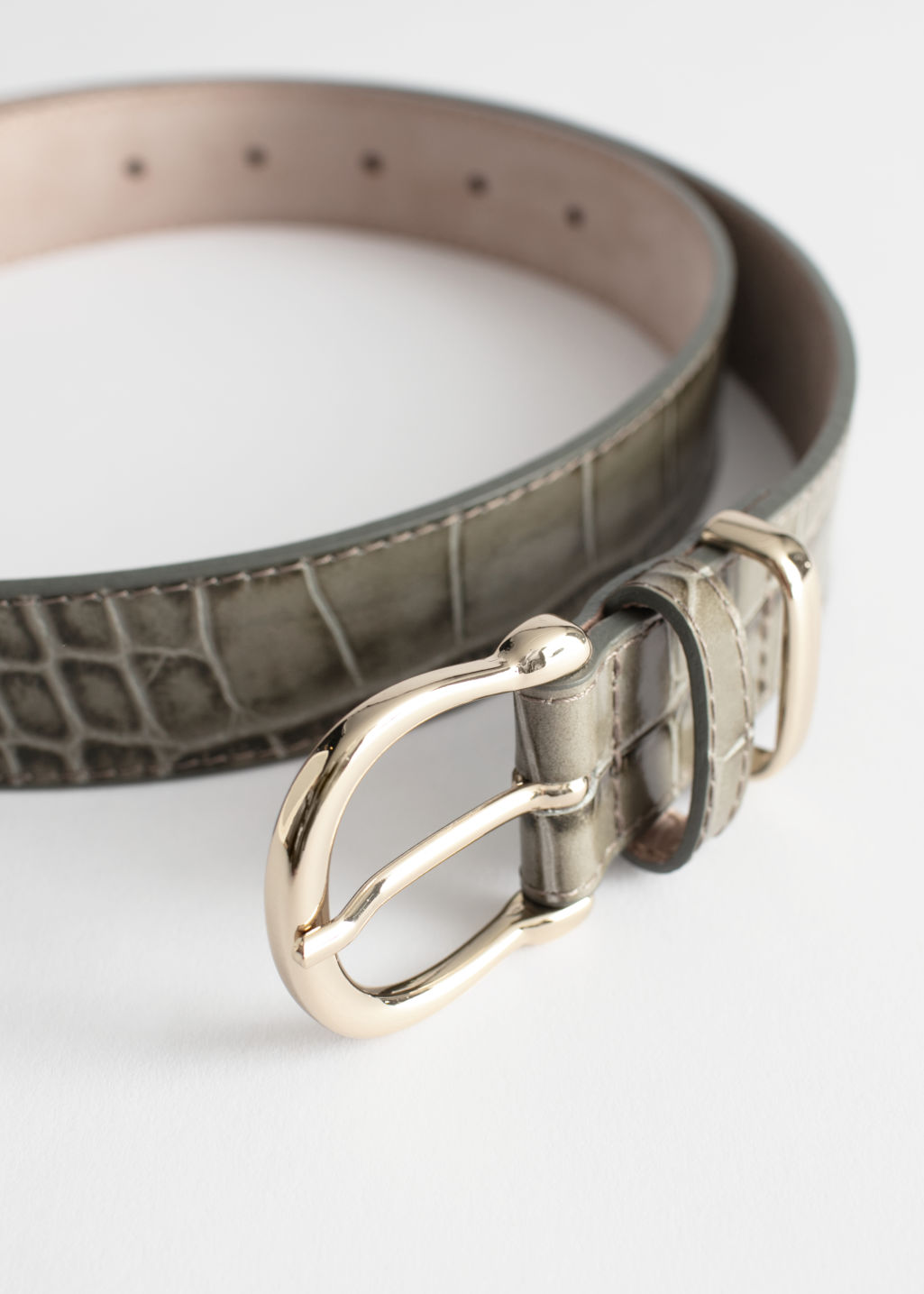 Back image of Stories croco leather belt in green