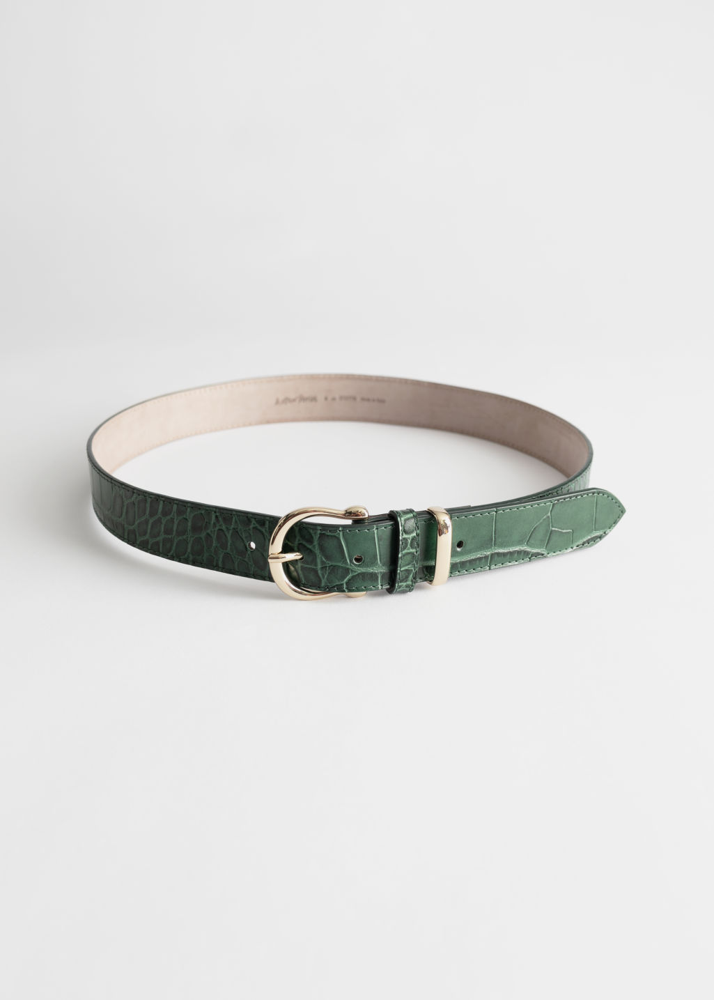 StillLife Front Image of Stories Croco Leather Belt in Green