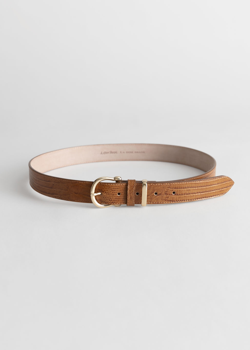 Front image of Stories croco leather belt in beige