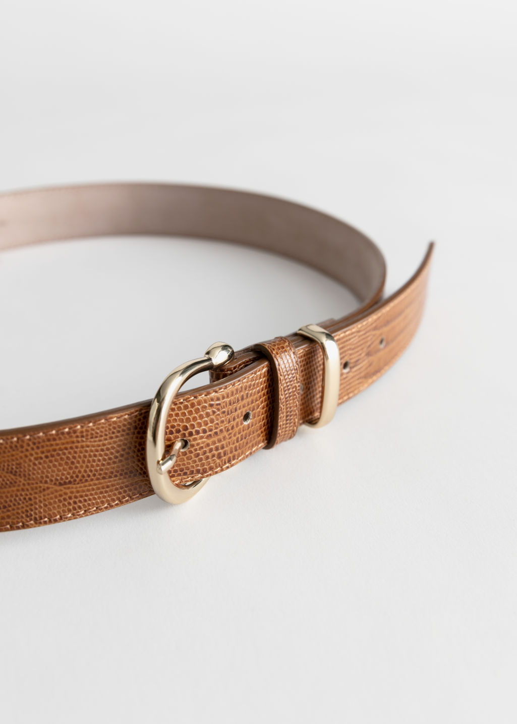 Back image of Stories croco leather belt in beige