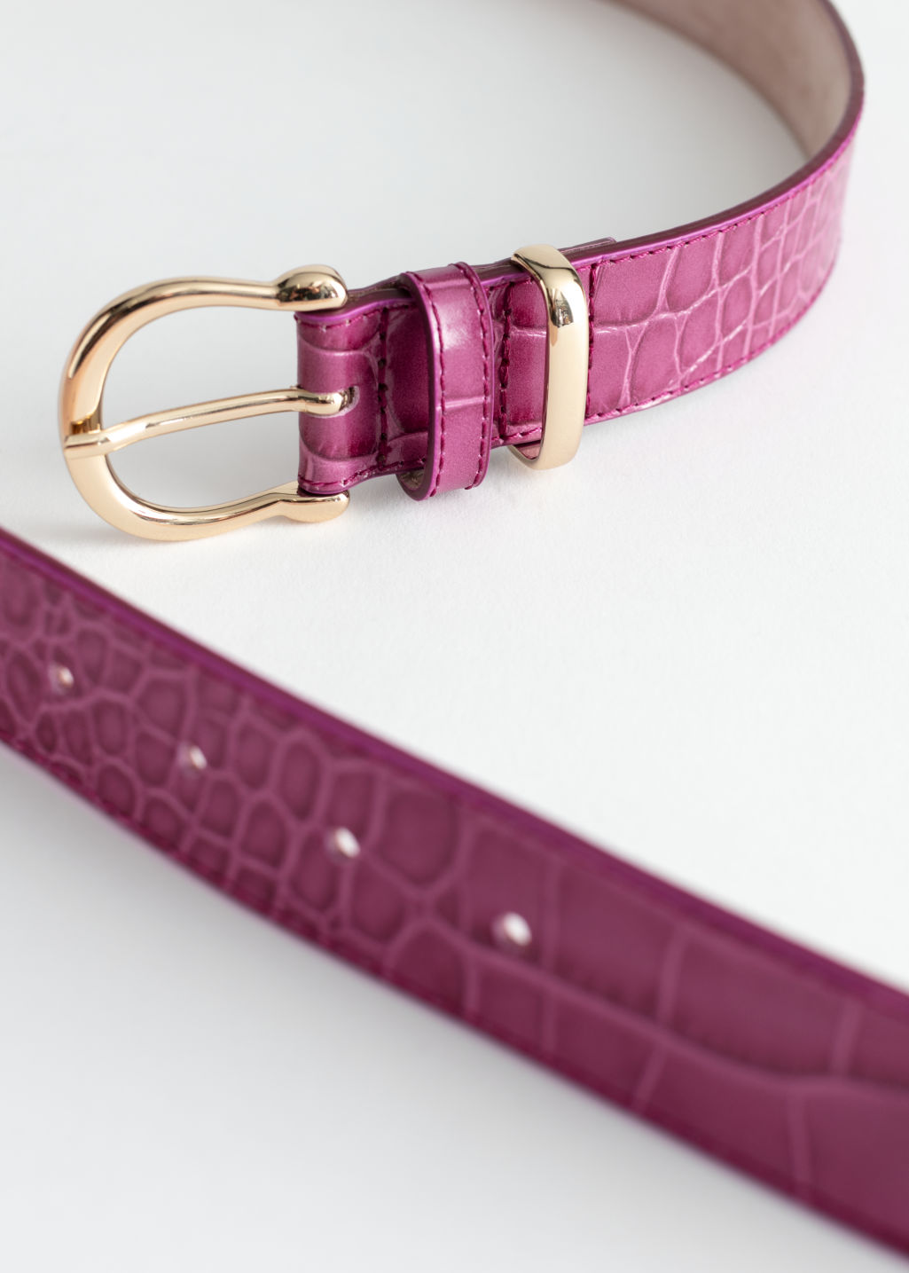 Back image of Stories croco leather belt in pink
