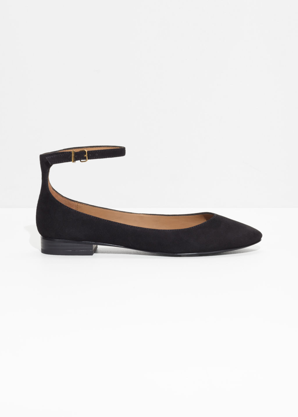 Front image of Stories ankle strap suede ballerinas in black