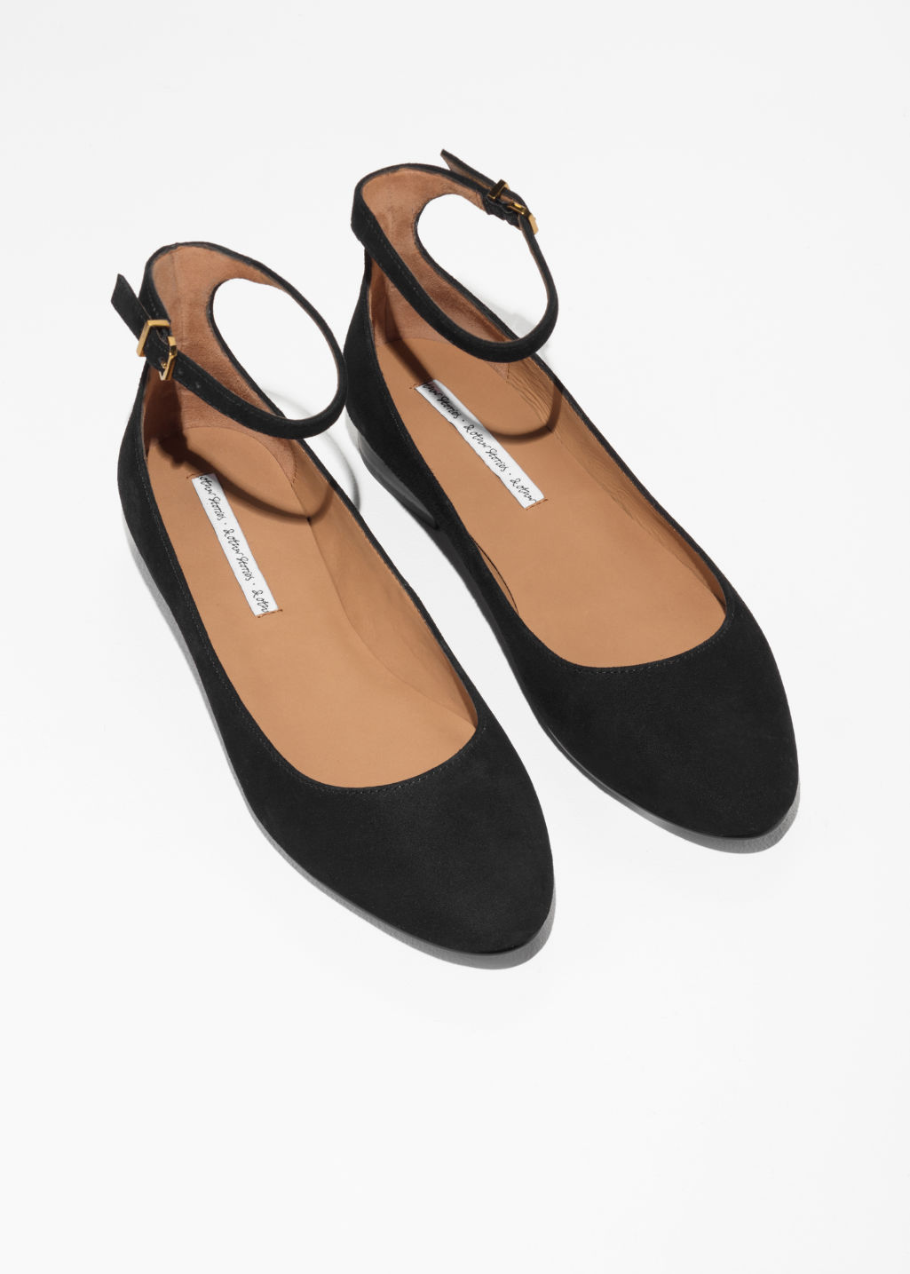 Back image of Stories ankle strap suede ballerinas in black