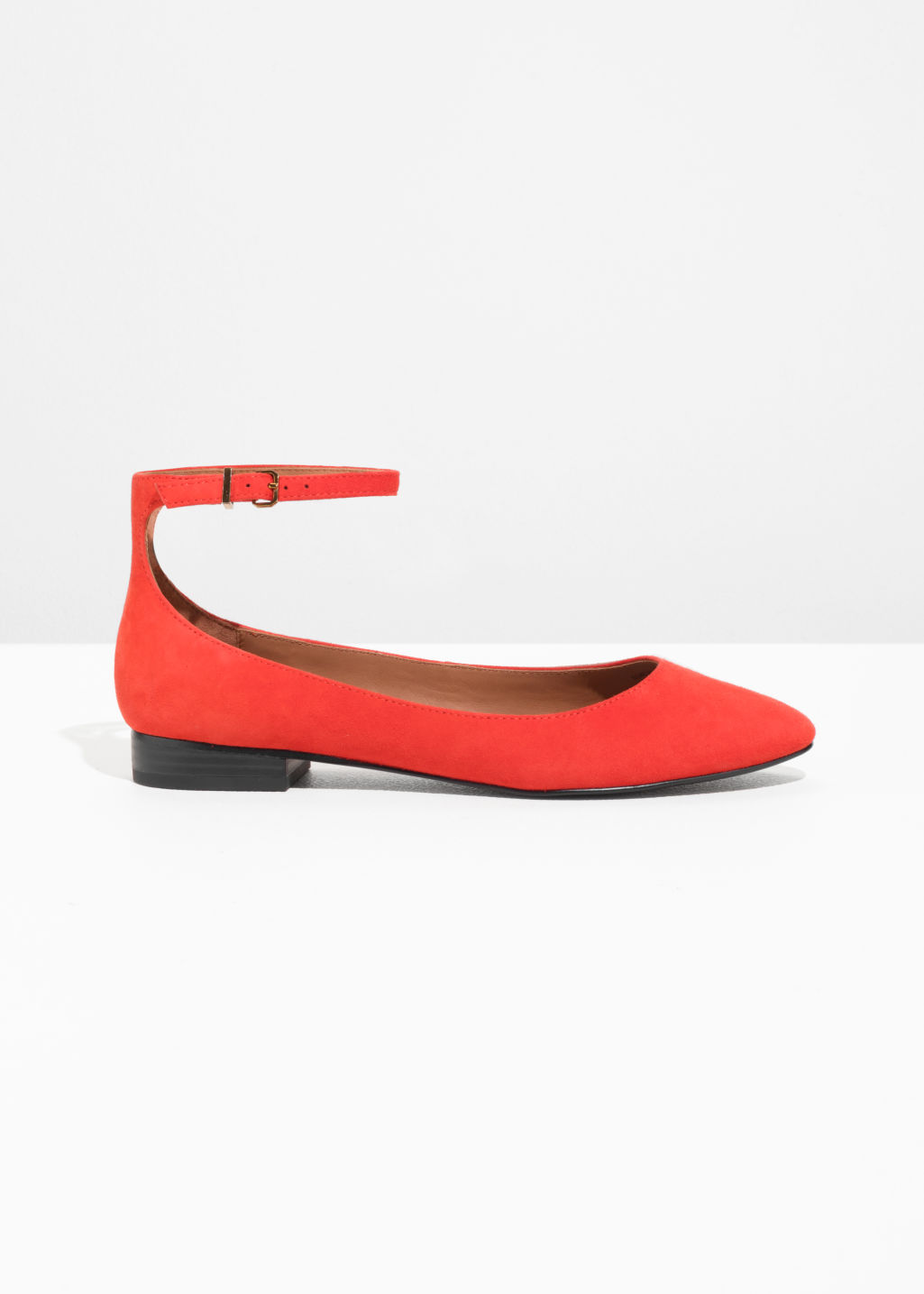& OTHER STORIES Ankle Strap Suede Ballerinas - Red FjOzc7Sx8Z