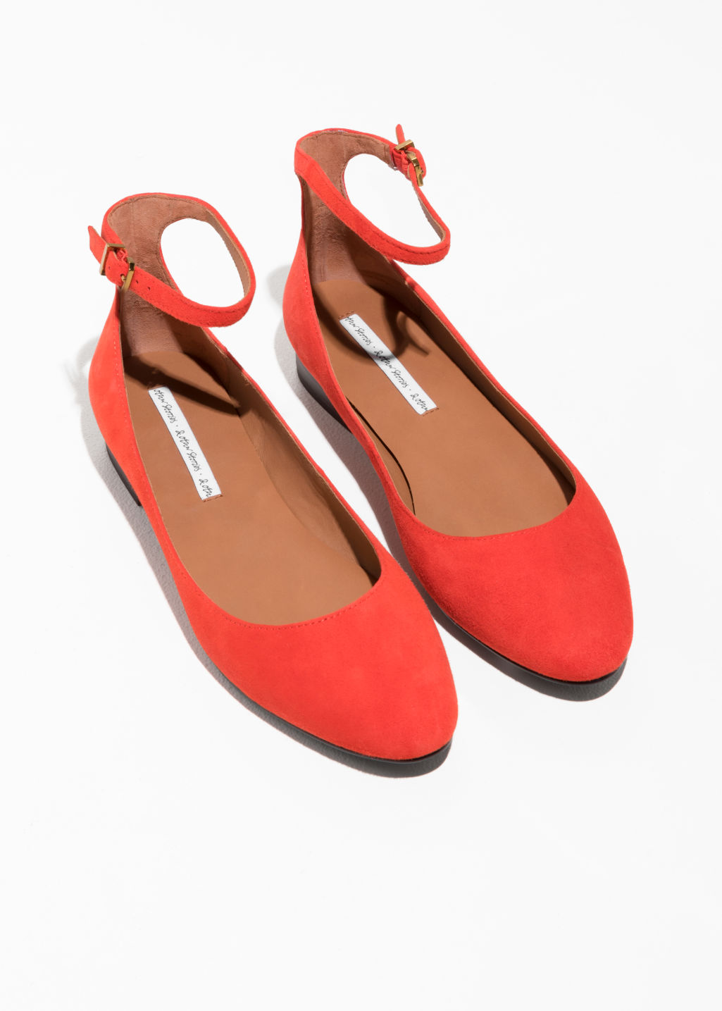 Back image of Stories ankle strap suede ballerinas in red