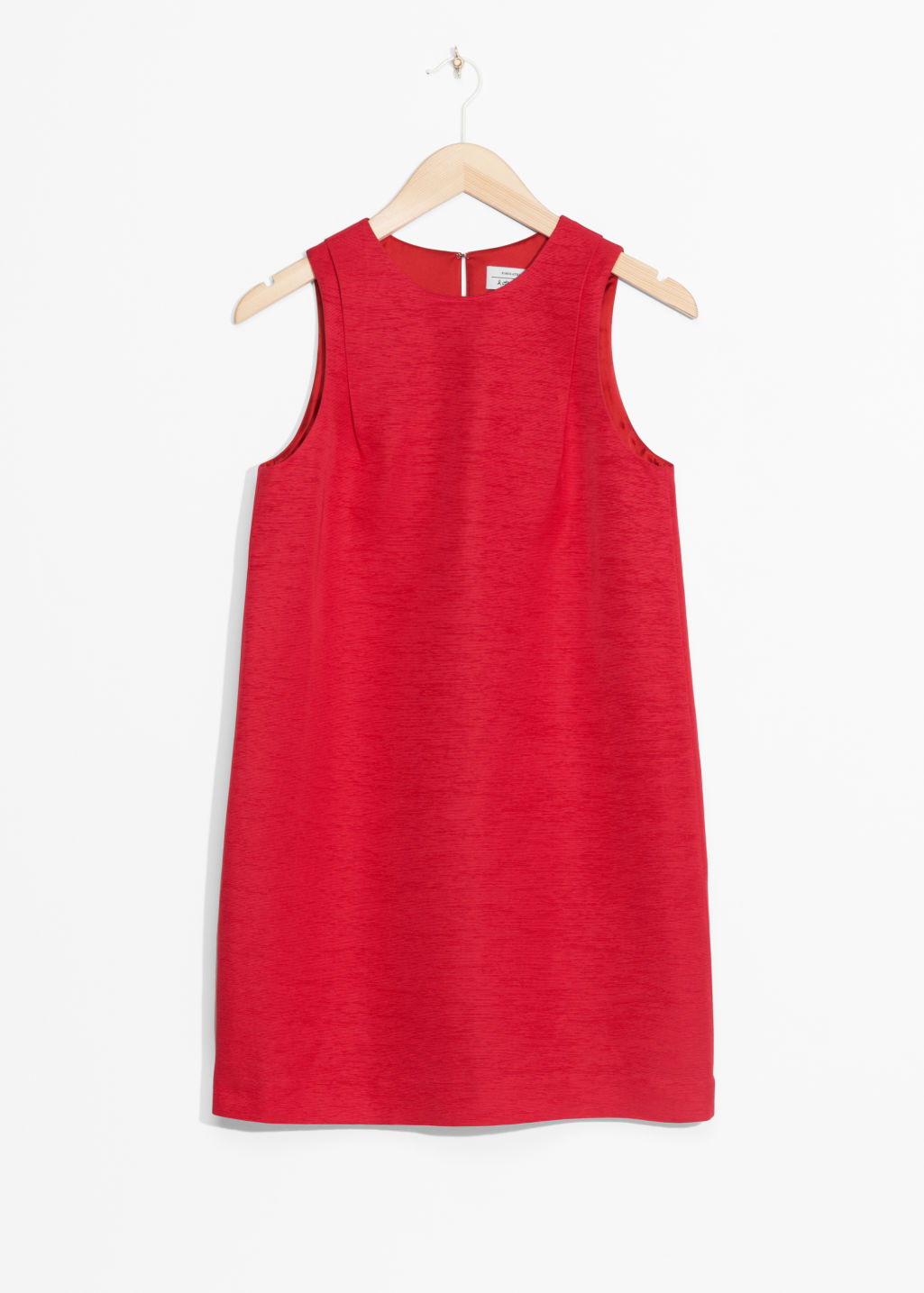 Front image of Stories sleeveless cocoon dress in red