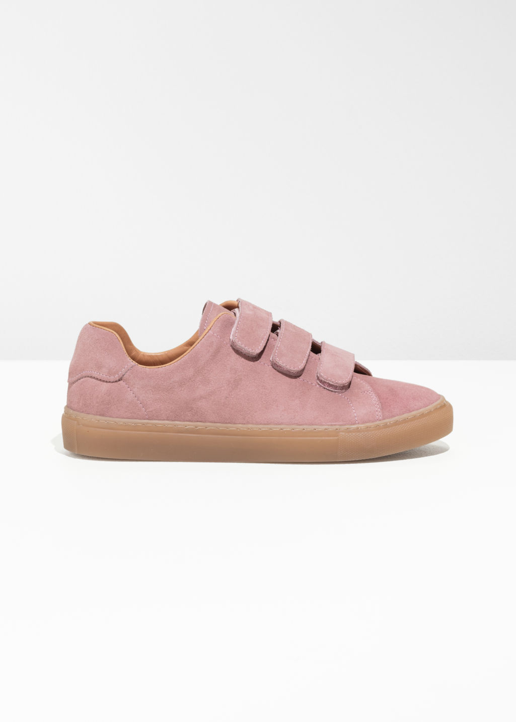 Front image of Stories scratch strap patent leather sneaker in pink