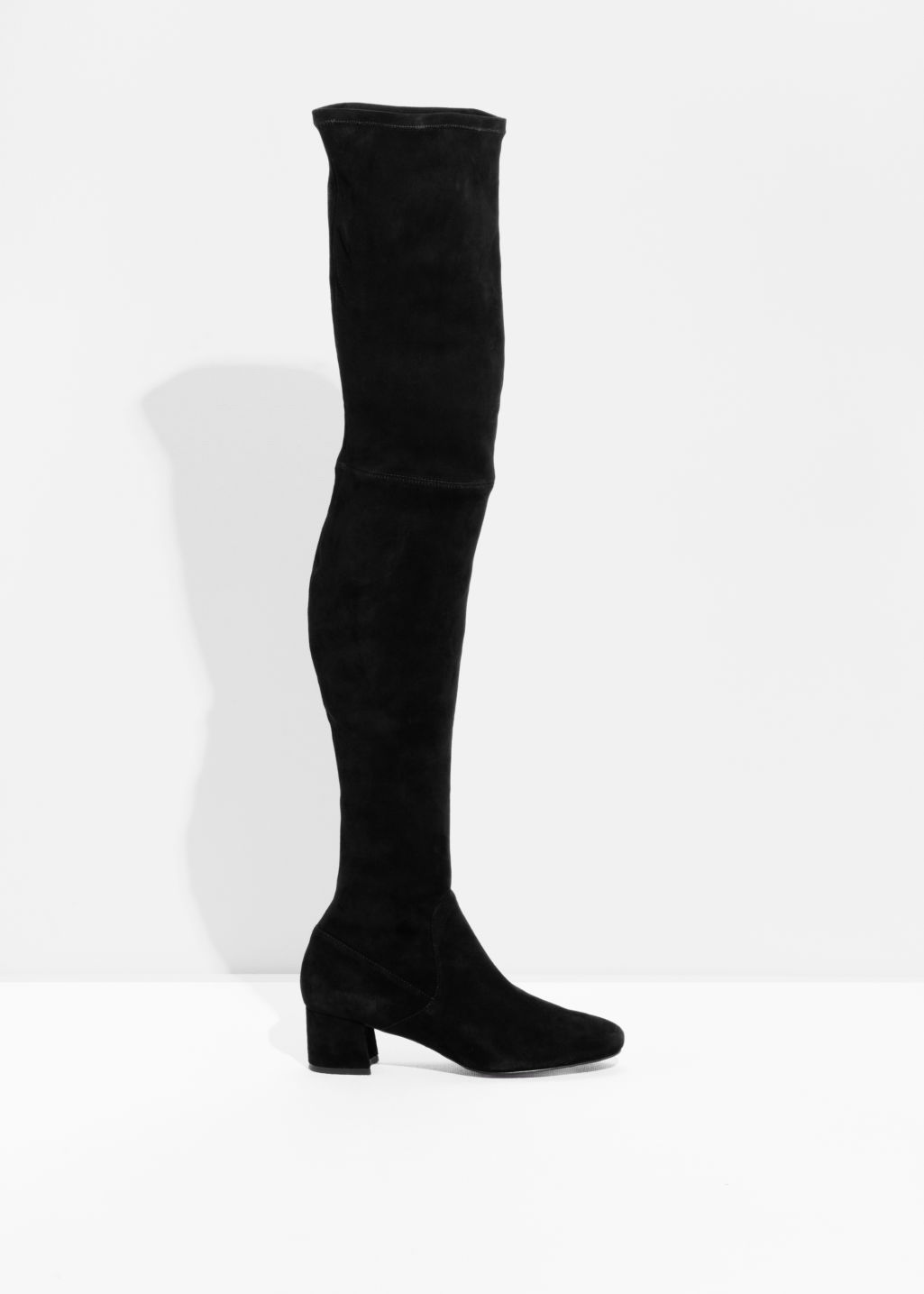 Front image of Stories suede over the knee slim-fit boots in black