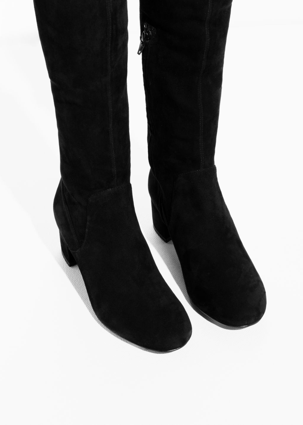 f30fbceb98c Slim Suede Thigh High Boots - Black - Knee high boots -   Other Stories