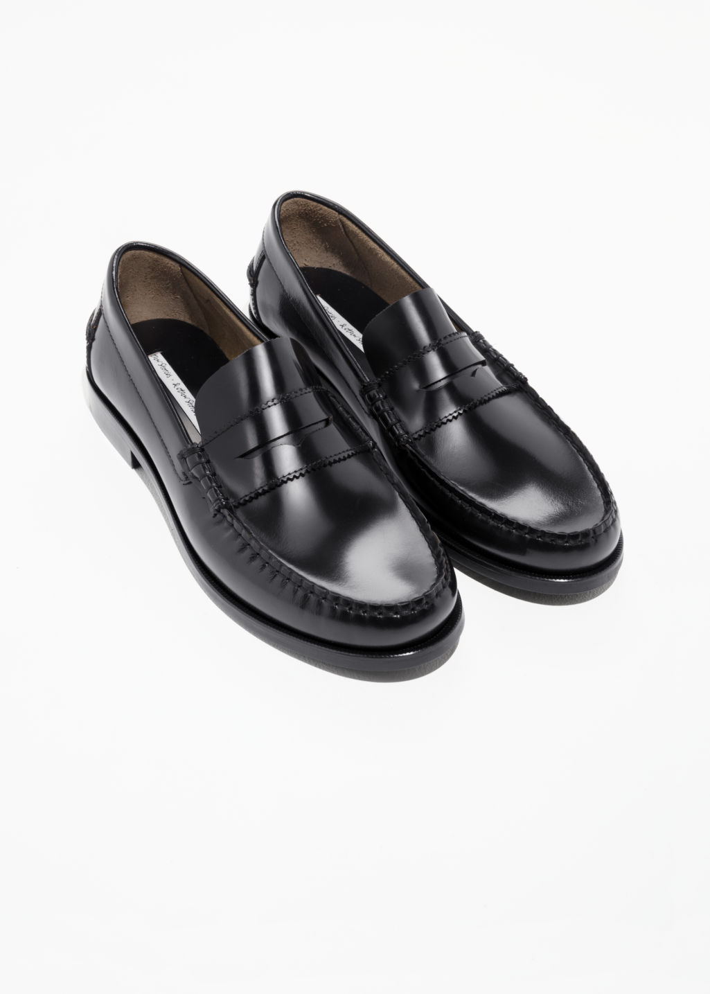 Back image of Stories leather penny loafer in black