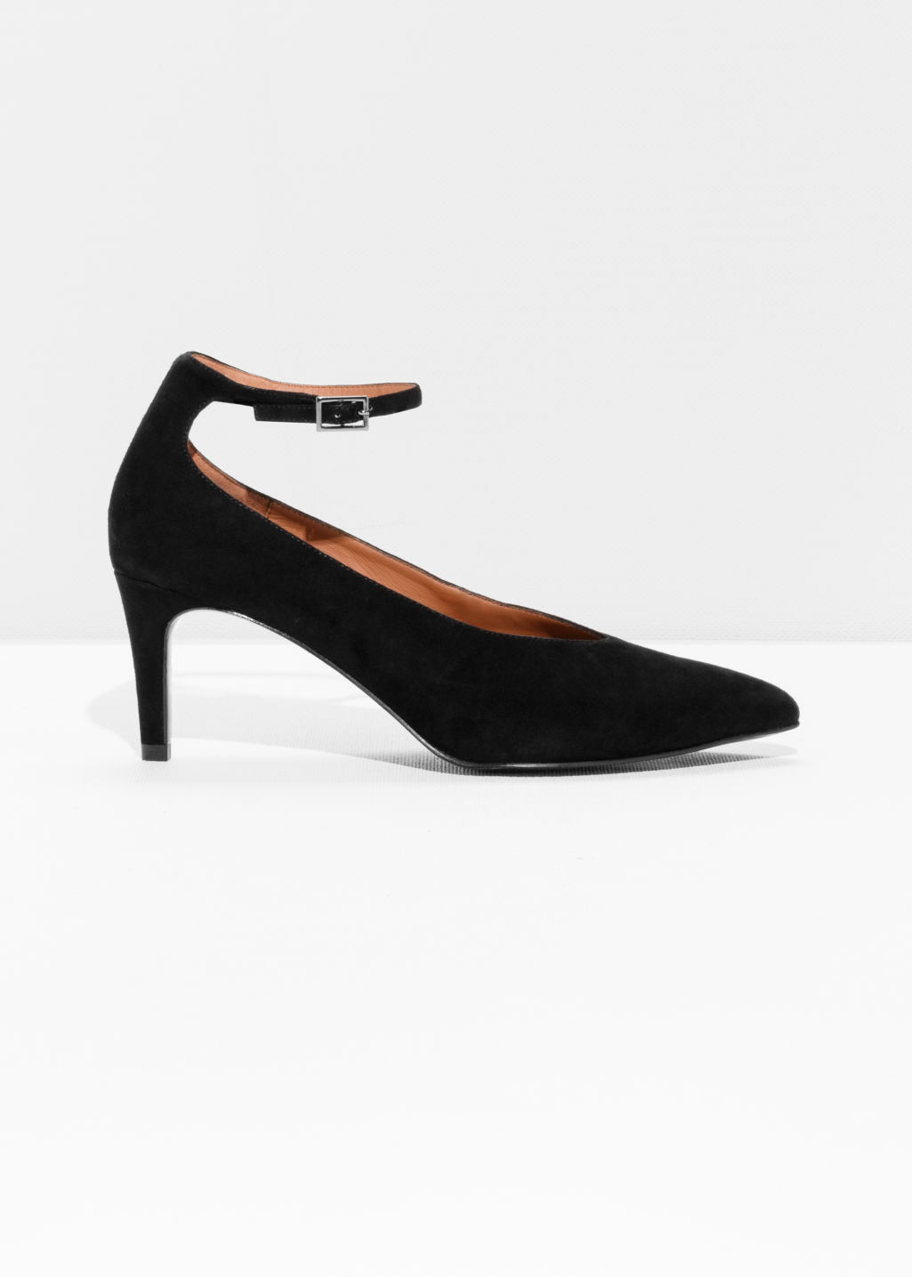 Front image of Stories ankle strap pumps in black