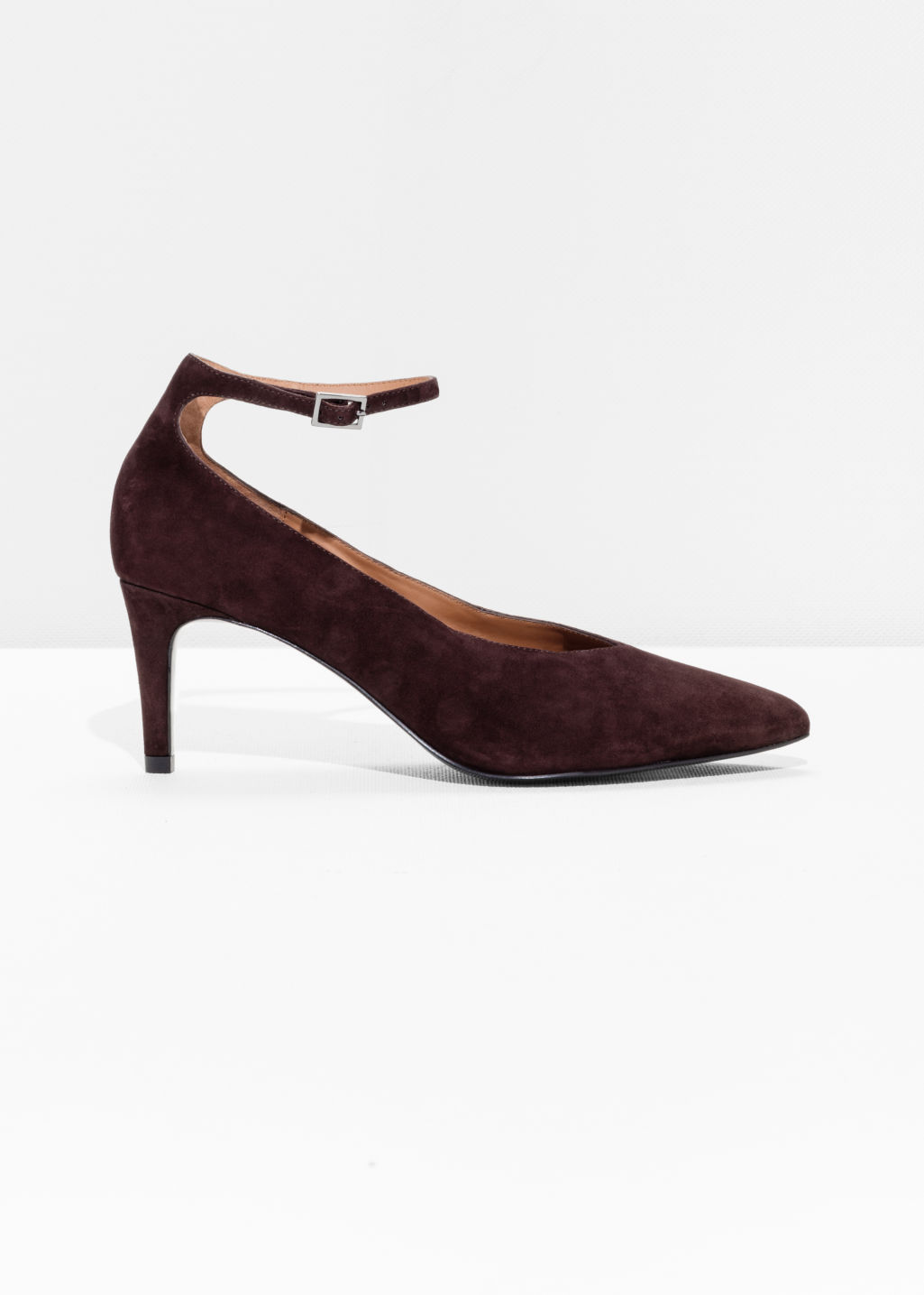 Front image of Stories ankle strap pumps in brown