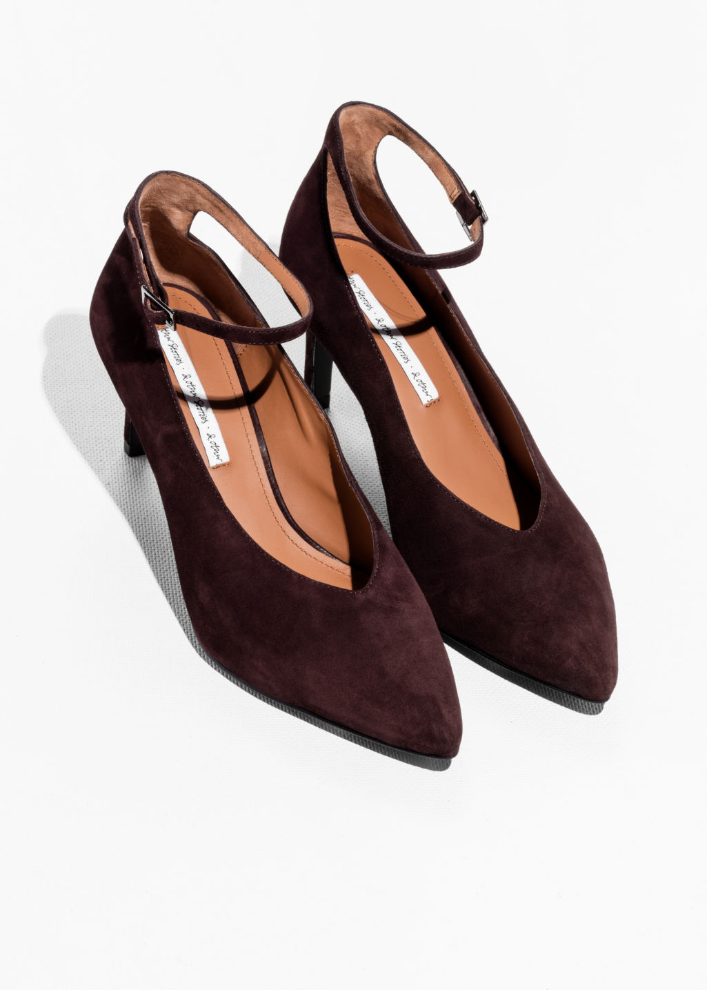 Back image of Stories ankle strap pumps in brown