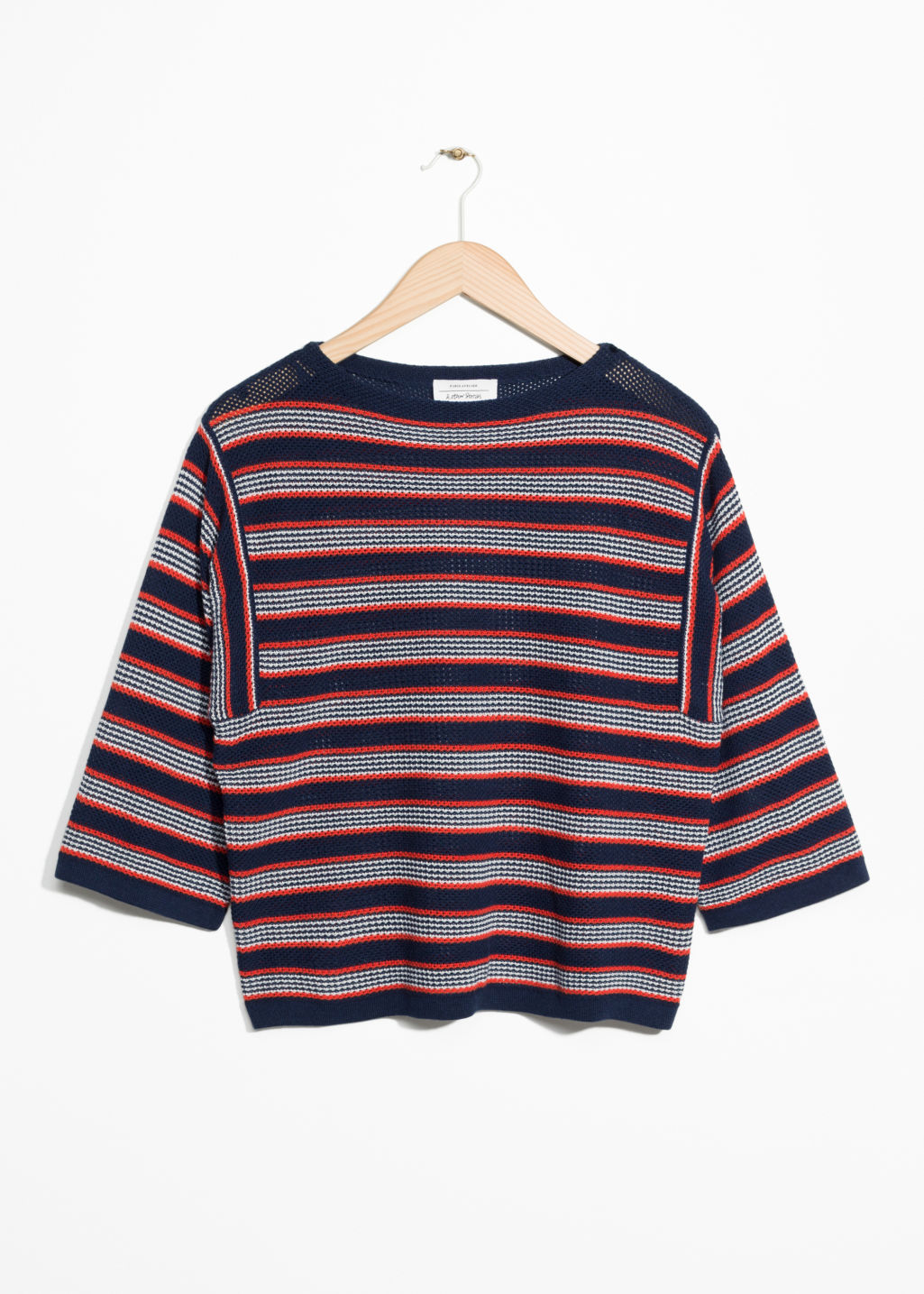 Front image of Stories striped oversized top  in blue