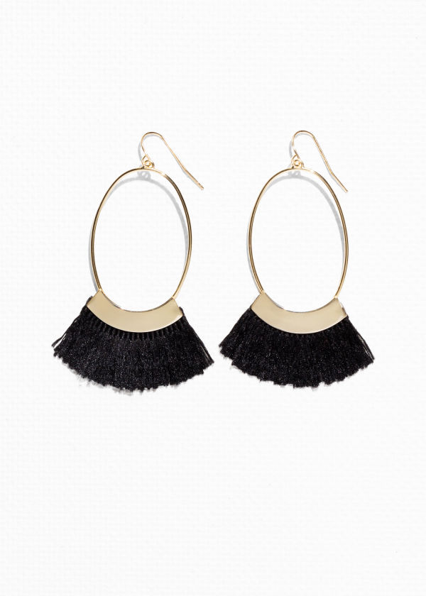 Front image of Stories oval fringe earrings in black