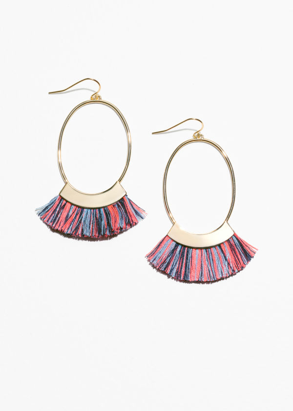 Front image of Stories oval fringe earrings in blue