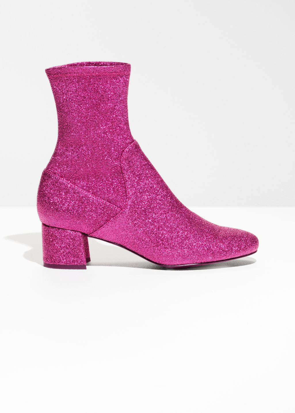 Front image of Stories pull on suede boots  in pink