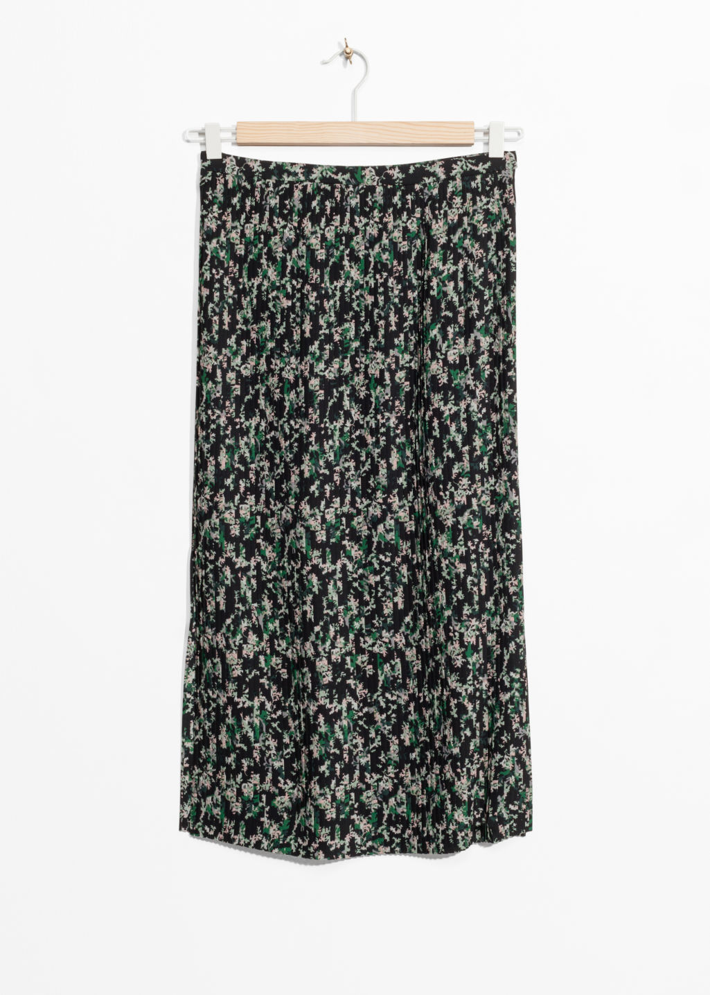 Front image of Stories pleats panel skirt in green