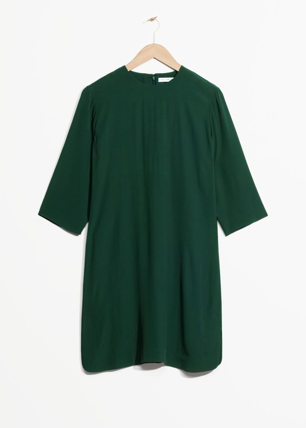 Front image of Stories crepe dress  in green
