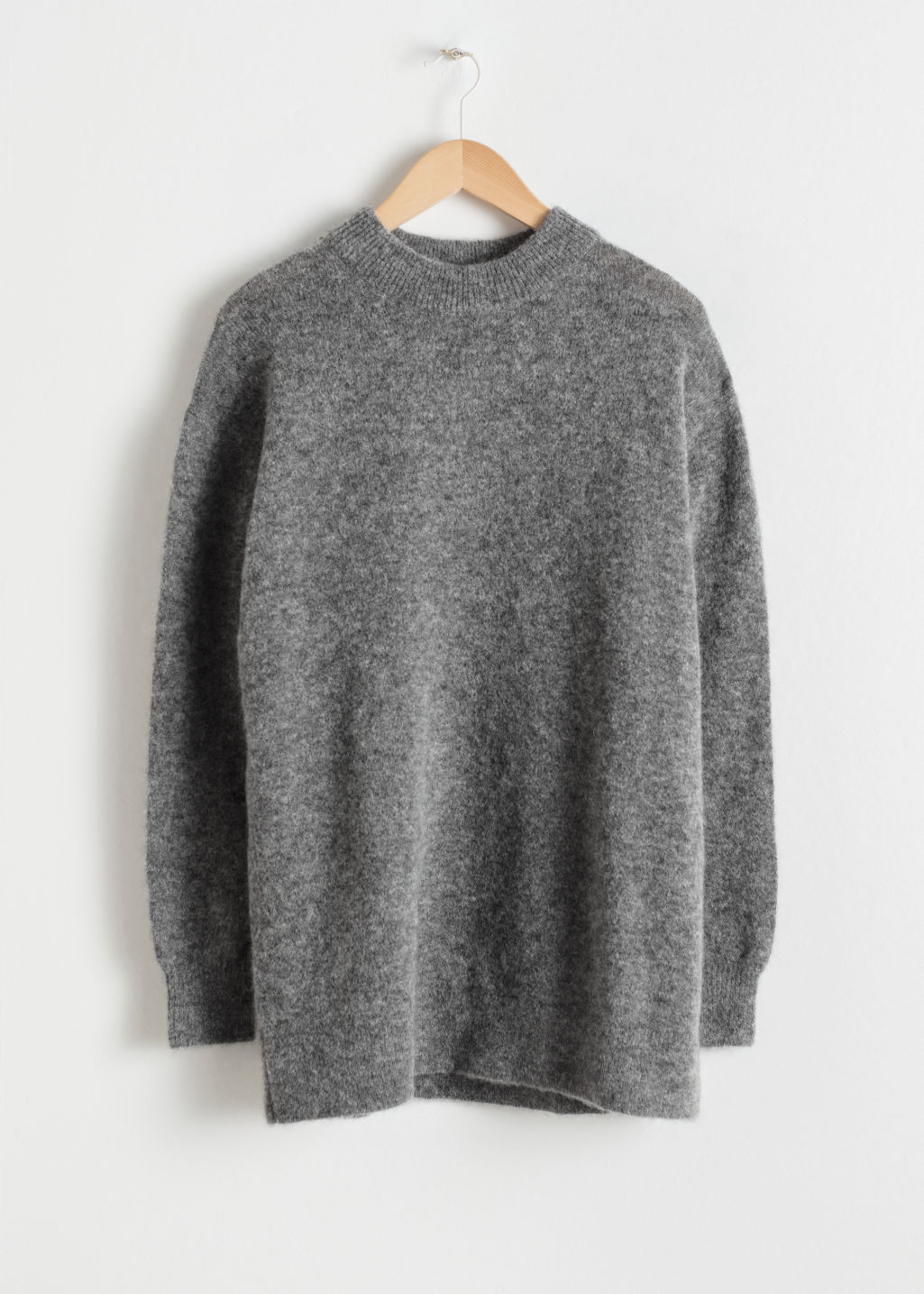 Front image of Stories oversized knit in grey