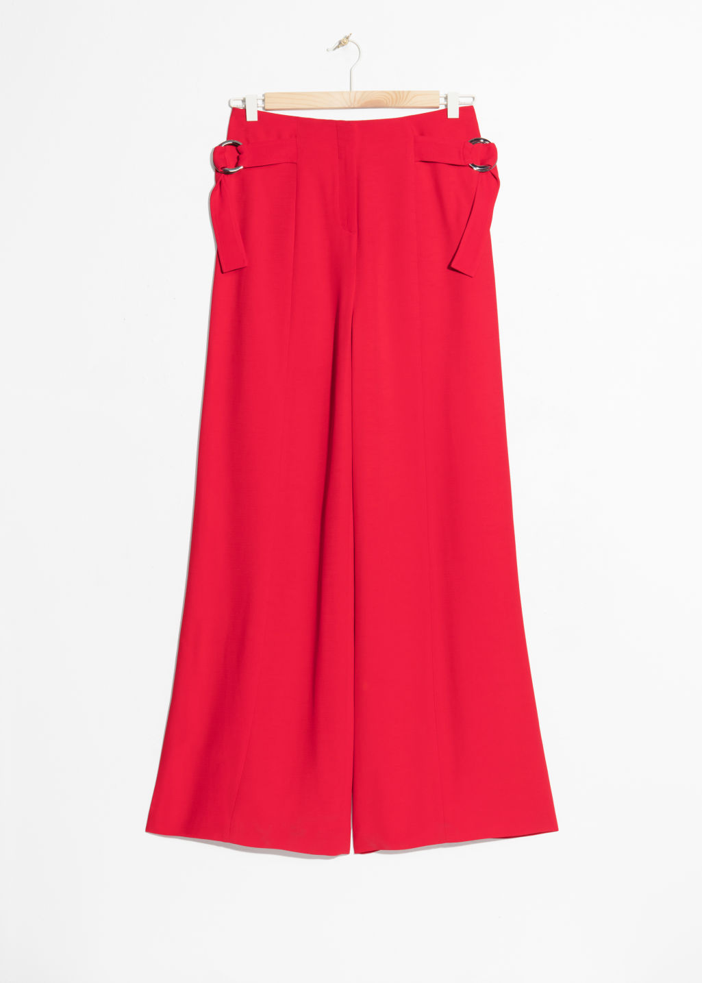 Front image of Stories belted suit trousers  in red