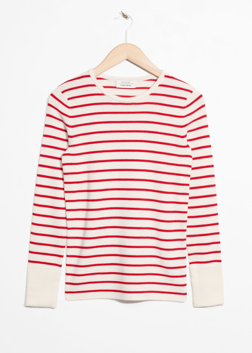 Front image of Stories nautical sweater in white