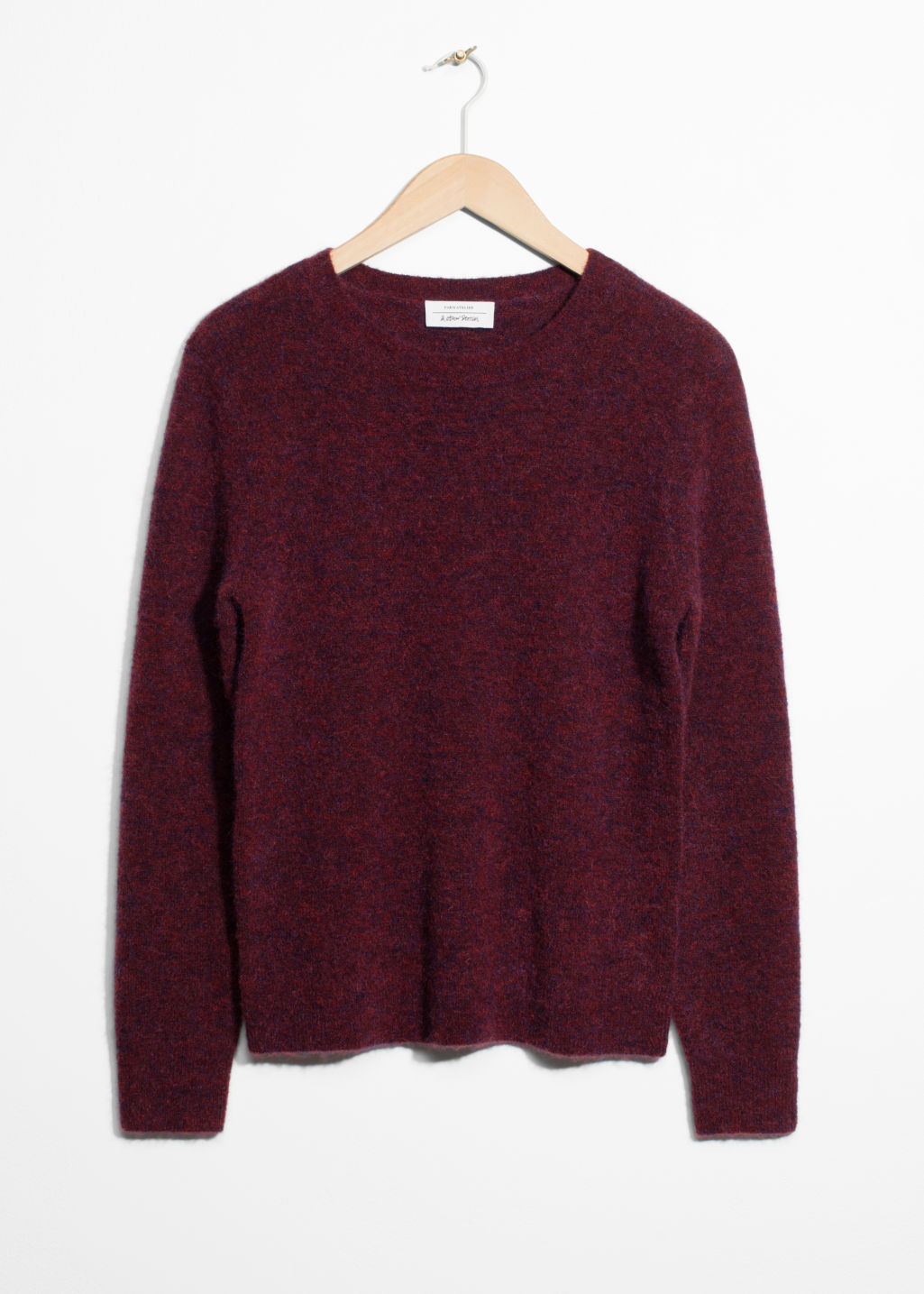 Front image of Stories mohair & wool knit sweater in red