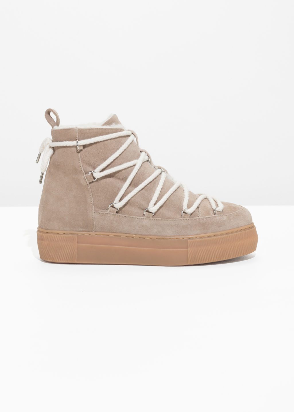 Front image of Stories leather snow boots in beige