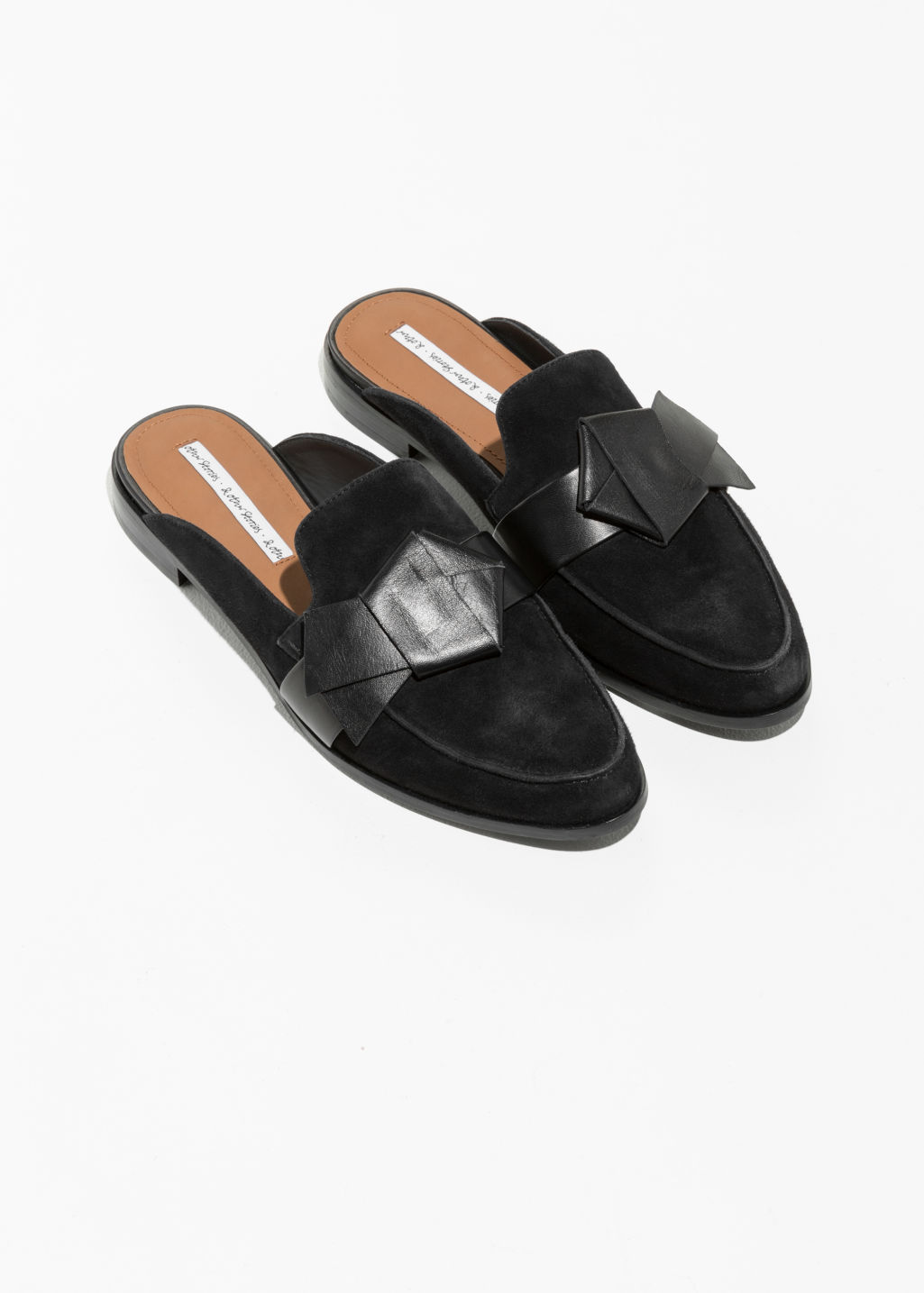 Back image of Stories slipper leather loafers in black