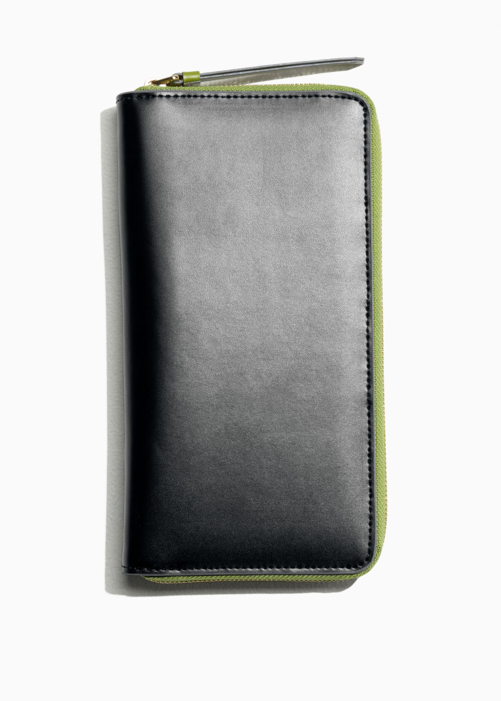 Back image of Stories large leather zip wallet in black